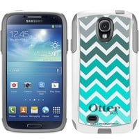 Otterbox Commuter Series Chevron Grey Green Turquoise Pattern Hybrid Case for Samsung Galaxy S4
