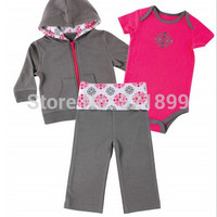 Free Shipping 3 pcs/lot New Designed 4 Colors Spring & Summer Newborn Baby Clothes,Infant Baby Girl  Boy Clothing Sets Infantis