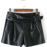 European Style Solid Faux Leather Ladies Shorts Sashes Pockets Zipper Women Shorts 2018 High Waist Autumn Casual Fashion Shorts