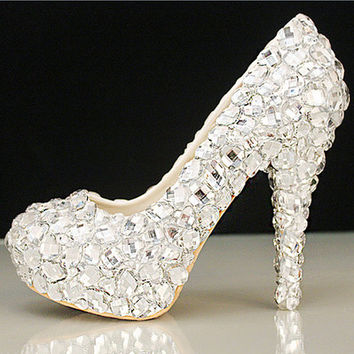2016 Handmade Womens Silver Rhinestone High Stilettos Heels Spring Wedding Prom Dress Party Occasions Pumps Shoes