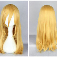 Attack on Titan Krista Lenz 55cm Long Yellow Blonde Synthetic Cute Cosplay Wig,Colorful Candy Colored synthetic Hair Extension Hair piece 1pcs Beyonce's Hairstyle WIG-365F