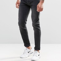 ASOS Skinny Jeans In 12.5oz In Washed Black