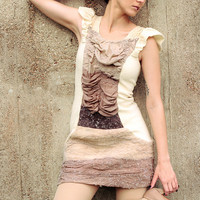 Eco friendly Dress made of ombre tights and merino wool felt in neutral colors by texturable