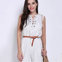 Women Lace-up Front Sleeveless Jumpsuit