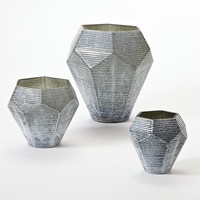 Global Views Faceted Stria Vase-Grey-Med - Global Views 8-81985