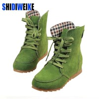 Hot 2017 Ladies Boots Round Toe Flat Shoes Martin boots Woman Boots Solid Lace Up Wome