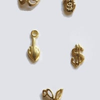 Set of Five Gangsta Gold Nail Charms