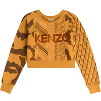 Kenzo - Cropped Cotton Sweatshirt with Embroidered Logo