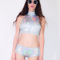 Holographic Two Piece Turtle Neck Crop