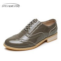 Patent leather big woman US size 11 designer vintage flat shoes round toe handmade grey 2017 sping oxford shoes for women fur