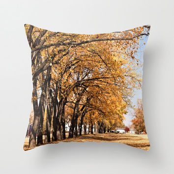 Autumn Throw Pillow Cover Photography Print Polyester Topaz Bronze Leaves Fall Red Home Decor Accent Cushion Covers