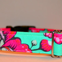 """Girly Teal and Pink Dog Collar, Cat Collar """"The Sookie"""""""