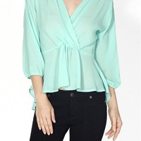 Solid 3/4 Sleeve Ruffled Hi-Low Hem Peplum Top Blouse with Lace and Zipper Back