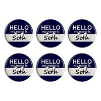 Seth Hello My Name Is Plastic Resin Button Set of 6