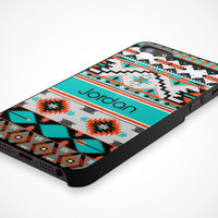 iPhone 5 Cell Phone Case Tribal Trendy Hipster Aztec Pattern Apple Personalized Name Monogram Protective Black Plastic Hard Cover VM-1046