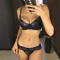 Sexy Bra Ultrathin Underwear Set Women Lace Embroidery Lingerie