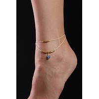 The Blue Drop Evil Eye Spiritual Anklet - 18Kt Gold Plated