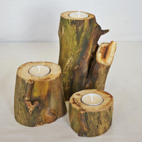 3 Rustic Candle holders, rustic home decor, Wood Candle Holders, tea light holder, wedding decor, home decor, country wedding,