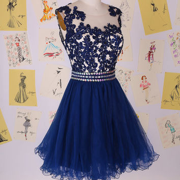 Navy Blue Beading Lace Short Prom Dress/Lace Knee Length Homecoming Dress/Gorgeous Party Dress/Organza Prom Dress DAF0020