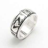 Unusual Spinning Sterling Silver Celtic Claddagh Spin Worry Band Ring (Size 4,5,6,7,8,9,10,11,12)