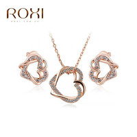 Sales ROXI Free Shipping Elegant Statement Rose Gold Plated Double Heart Set Earrings+Necklace Fashion Jewelry Party