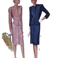 Vintage McCall's Sewing Pattern, Ladies Suit, Skirt and Jacket,, 1940's, Pattern #6069, Size 12, Bust 30 , Retro Fashion, Film Wardrobe