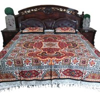 Indian Bedspread Maroon Mandala & White Floral Cotton Bedcover