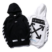 Off White Woman Men Fashion Print Top Sweater Hoodie Pullover