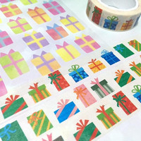 Colorful Gift box washi tape 7M party present birthday party gift box christmas gift box sticker tape gift wrapping deco Masking Tape