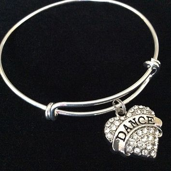 Dance Crystal Heart Expandable Silver Charm Bracelet Adjustable Bangle Gift Dance Jewelry Trendy Teenager Ballet Tap