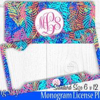 Electric Feathers Monogram License Plate Frame Holder Metal Wall Sign Tags Personalized Custom Vanity Plate