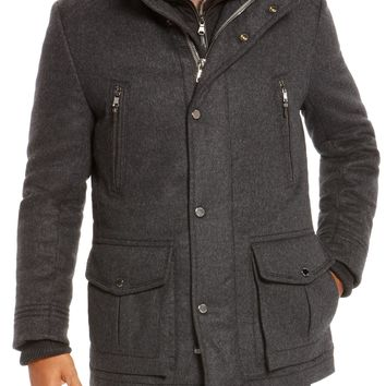 'T-Cenu'   Wool and Cashmere Blend Coat with Removable Fur Vest by BOSS