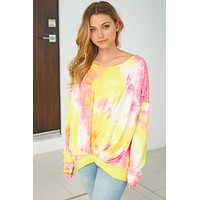 Catch These Rays Yellow Multi Tie Dye Top