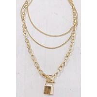 P&M layered Padlock Necklace