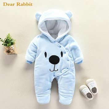 Cute Cartoon Bear Flannel new born Baby clothes Romper Novelty Cotton boy girl Animal Rompers Stitch Baby's Sets Baby