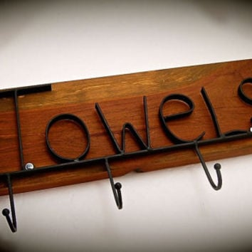 Reclaimed  Wood & Iron Towel Rack-Stained Cedar Beautiful wood grain-Almost 2 foot long by 8.5 tall and3.25 Wide The cedar is a chunky 1inch