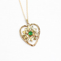 Vintage 12k Yellow Gold Filled Simulated Peridot Pendant Necklace - Green Glass Stone Daisy Flower Heart Motif August Birthstone Jewelry