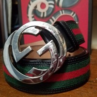 Gucci Belt Web Black Leather Silver Gunmetal BIG old style GG Red Green 95 33 34
