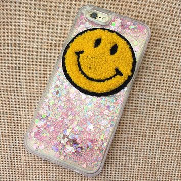 Shine Quicksand Smiling Face iPhone 5S 6 6S Plus Case Solid Cover + Nice Gift Box 451