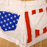 Fourth of July Flag Stars and Stripes Women's Shorts Size 2 White Jean shorts Denim 26 High waisted Vintage.