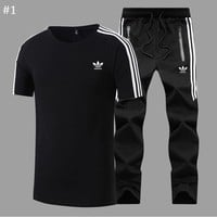 ADIDAS 2018 new trend casual round neck short-sleeved trousers sports two-piece #1