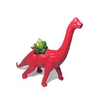 Up-cycled Red Apatosaurus Dinosaur Planter