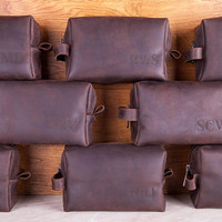 Groomsman Gift, Leather Dopp Kit, leather toiletry bag, fathers day gift, third anniversary gift, Gift for Man Groomsmen Groom Wedding