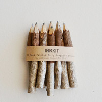 """champagne twig pencils - hand dipped 4"""" (10 pencils)"""