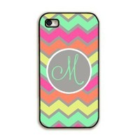 Rainbow chevron in pastels - monogram iPhone 4 case, iPhone 4s cover, cell phone case