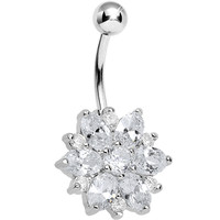 Crystalline Gem Sunburst Flower Belly Ring | Body Candy Body Jewelry