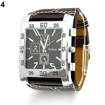 2015 NEW Fashion Unisex Men Women Leather Band Square Dial Quartz Wrist Watch classic watch cool [9305807495]