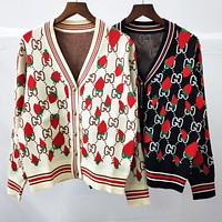 FENDI Newest Fashion Women Strawberry Letter Jacquard V Collar Knit Cardigan Jacket Coat