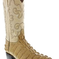Men's Crocodile Alligator Genuine Tan Leather Western Cowboy Dress Boots J toe