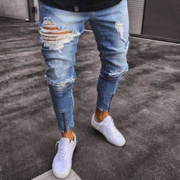 Men Jeans Stretch Skinny Ripped Hole Fake Zippers Casual Solid Mens Denim Jeans Distressed Washed Straight Fashion High Quality